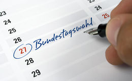 Election date. Calendar with the date of the german election day Royalty Free Stock Image
