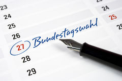 Election date. Calendar with the date of the german election day Stock Photo