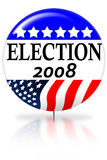 Election day 2008 vote button. With reflection on white Stock Photo