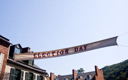 Election Day banner in front of sky. Vintage election day banner stretched across street royalty free stock photos