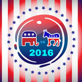 Election Day 2016 Campaign Banner. Election Day 2016 Campaign Ad Flyer. Social Promotion Banner. Elephant versus Donkey. American Flag's Symbolic Elements - Red Stock Photography