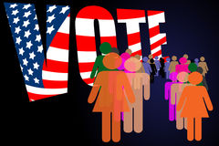 Election day campaign vote. Election day vote poster with people in line Stock Photo