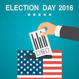 Election day poster. 2016 USA. Voting concept. Male hand putting voting paper in a ballot box, flat design, vector illustration. Election day poster. 2016 USA Royalty Free Stock Image
