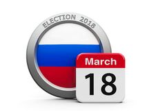Election Day Russia. Emblem of Russia with calendar button - The Eighteenth of March - represents the Election Day 2018 in Russia, three-dimensional rendering stock illustration