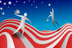 Election days. Election day, two candidates collect stars of American flag, symbols of states votes vector illustration