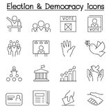 Election & Democracy icon set in thin line style Royalty Free Stock Images