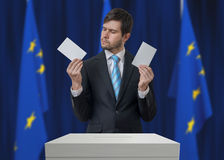 Election in European Union. Undecided voter is making decision.  Royalty Free Stock Photo