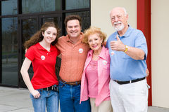 Election - Family Outside Polls stock images