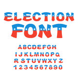 Election font. Political debate in America alphabet. USA Nationa Stock Images