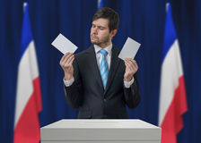 Election in France. Undecided voter is making decision.  Royalty Free Stock Images