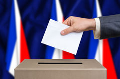 Election in France - voting at the ballot box royalty free stock image