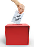 Election frustrations. With voting box and hand Royalty Free Stock Images