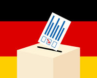Election in Germany concept. Voting paper and a ballot box with german flag on a background, flat design, vector illustration Royalty Free Stock Image