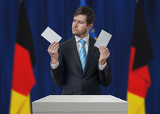 Election in Germany. Undecided voter is making decision.  Stock Images