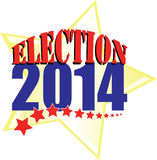 Election 2014 with gold star. Election 2014 for United States Senate and Congress and other state offices is Tuesday November 4. This graphic urges you to vote Stock Images