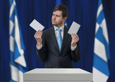 Election in Greece. Undecided voter is making decision.  Stock Photography