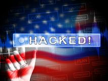 Election Hacking Russian Espionage Attacks 2d Illustration. Shows Hacked Elections Or Ballot Vote Risk From Russia Online Like US Dnc Server Breach royalty free illustration
