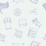 Election hand drawn vector seamless pattern Stock Photo