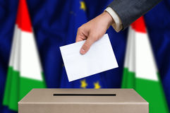 Election in Hungary - voting at the ballot box Royalty Free Stock Photo