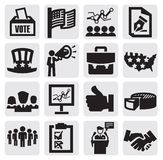 Election icons. Vector black election icons set on gray Stock Photography