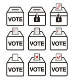 Election icons - ballot box icons Stock Photo