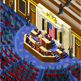Election Infographic Congress Hall Us Vector Isometric People Stock Photos