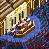 Election Infographic Congress Hall Vector Isometric People. Election infographic.Debate party convention hall.Conference business meeting lecture.Congress stock illustration