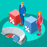 Election Infographic Congress Meeting Vector Isometric People. Election infographic.Debate party convention hall.Conference business meeting lecture.Congress Stock Images