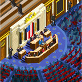 Election Infographic Parliament Hall Us Vector Isometric People. Election infographic.Debate party convention hall.Conference business meeting lecture.Congress Stock Photo