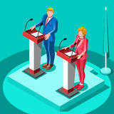 Election Infographic Political Rally Vector Isometric People. Election infographic.Debate party convention hall.Conference business meeting lecture.Congress Royalty Free Stock Images