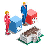 Election Infographic Presidential Pools Vector Isometric People Royalty Free Stock Photos