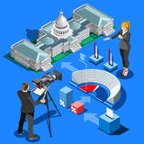 Election Infographic Presidential Vector Isometric Building. Election infographic.Us Washington DC capitol dome presidential conference meeting.Party convention Stock Photos