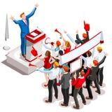 Election Infographic Speaker Podium Vector Isometric People Stock Image