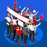 Election Infographic Theatre Audience Vector Isometric People Stock Photo