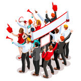 Election Infographic Theatre Crowd Vector Isometric People Royalty Free Stock Image