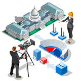 Election Infographic Us Capitol Vector Isometric Building Stock Image