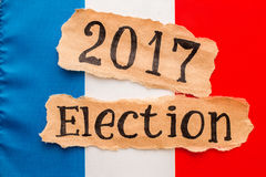 Election 2017, inscription on torn paper sheet. Stock Images