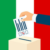 Election in Italy. Male hand putting voting paper in a ballot box with italian flag on a background royalty free illustration