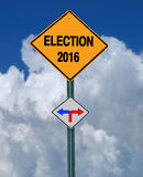 Election 2016 left or right ahead sign. Conceptual sign election 2016 left or right over blue sky Stock Image