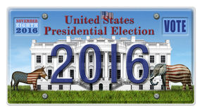 2016 Election License Plate. Digital illustration of a license Plate displaying the presidential election year 2016, the White House, a Republican elephant, a Royalty Free Stock Photo