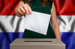 Election in Netherlands - voting at the ballot box. The hand of woman putting her vote in the ballot box. Flag of Netherlands on background Stock Photo