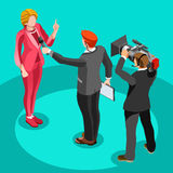Election News Infographic Interview Vector Isometric People Royalty Free Stock Photo
