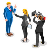 Election News Infographic Latest Pools Vector Isometric People. Election infographic.Debate party convention hall.Conference business meeting lecture.Congress Royalty Free Stock Images