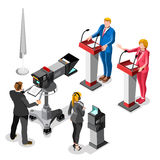Election News Infographic Live Video Vector Isometric People Royalty Free Stock Photos