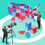 Election News Infographic Spokesman Vector Isometric People Royalty Free Stock Images
