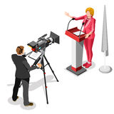 Election News Infographic Us Spokeswoman Vector Isometric People Royalty Free Stock Photography