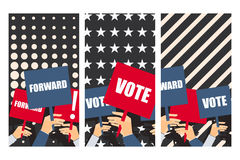 Election poster, voters support, people with placards. Vector illustration Stock Photography