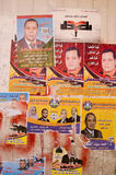 Election posters in Qena, Egypt. QENA, EGYPT - JANUARY 4: Election posters promoting candidates for that day's parliamentary elections in the city on January 4 Stock Image