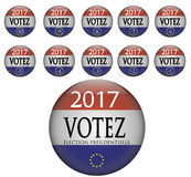Election Presidentielle 2017 - France. Elections Series - France 2017 - Presidentielle - Campaign Button with European Flag stock illustration