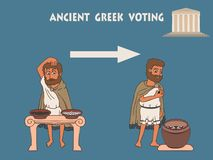 Election process in ancient greece cartoon. Election process in ancient greece by placing pebbles in urn, infographics vector illustration of democracy origins stock illustration